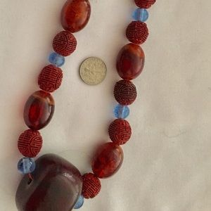 Jewelry - Necklace wood beads mixed media